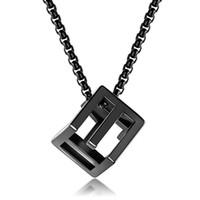 Fashion Men Love Rubiks Würfel Anhänger Designer Halskette Hip Hop Schmuck-Silber-Schwarz-Schlange-Ketten-Edelstahl-Punkhalsketten-Geschenk für Männer