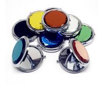 Ronda Doblado espejo de bolsillo compacto Espejos de aumento 2X Oro Plata maquillaje espejo de cristal