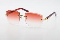 Vendita all'ingrosso Vendita Ottica 3524012-A Occhiali da sole originali Marmo Red Plank di alta qualità C decorazione delle lenti intagliate Vetro Unisex
