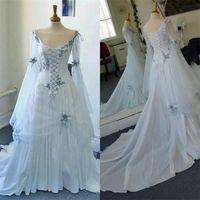 Gótica céltica de la vendimia del corsé de la boda de los vestidos de manga larga 2020 más el tamaño de ocasión Blue Sky medieval de Halloween vestidos de novia