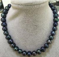 12-13mm Black Pearl Colliers 18inch 14k fermoir en or