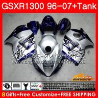 Kit für SUZUKI Hayabusa GSX-R1300 1996 1997 silbrig blau 1998 2007 24HC.32 GSXR 1300 GSXR1300 96 97 98 99 00 01 02 03 04 05 06 07 Verkleidungen