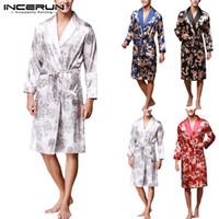 Elegante Hombre Robe Manga larga Albornoz Seda Kimono Lucky Dragon Imprimir Pijamas Vestido de noche Masculina Albornoz Homewear