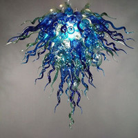 Lámparas sopladas de vidrio lámparas de vidrio venta azul y verde arte decoración cadena colgante 60 cm altura mano soplado de cristal lámpara de araña para sala de estar