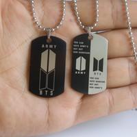 Stern BTS Buchstabezeichen Halskette Tag Panzer Junge Anhänger Edelstahl Halskette