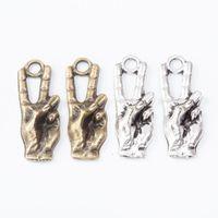 100 unids 25 * 9mm Antiguo Bronce Vintage Plata Victoria Victoria Lenguaje Encantos Colgantes para Pulsera Collar Pendiente DIY Joyería