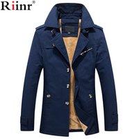 Riinr 2020 Марка Нового прибытие Jaqueta высокого качество Мужчину для зимы осени теплого флиса Solid Color Turn-вниз воротника куртки Мужской