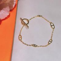 Горячий бренд для женских букв круглый H замок ювелирные изделия S925 серебряный браслет французское качество золотого золота высшего качества браслет