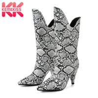 KemeKiss Half Short Boots Brand New Winter Fur Warm Designer Shoes Women Brand New Sexy scarpe a punta tacco alto Stivali Size 34-43