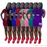 Quality Women tracksuit Tee shorts Sports Letters Pink Short...