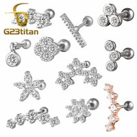 G23tian Surgical Titanium Crystal Flower Ear Studs Cartilage...
