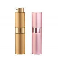 Bouteille de parfum 8ml rotatif en verre Shell rotatif rechargeable atomiseur vide pulvérisateur en vrac emballage en aluminium contenant de cosmétique voyage portable