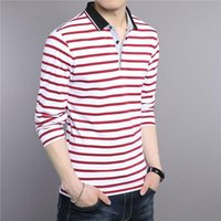 Normal T -Shirt Erkekler Yeni Bahar Yaz Saf Pamuk Erkekler Rasgele Çizgili Uzun Kollu Tişört Çizgili Trend Tops -Aşağı Yaka T Shirt çevirin