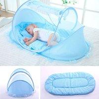 Bebek Beşik Netleştirme Portatif Katlanabilir Bebek Yatağı Cibinlik Polyester Yenidoğan Uyku Yatak Seyahat Yatak Netleştirme oyna Çadır çocuklar ücretsiz gönderim