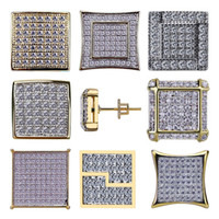 18K Gold Hip Hop CZ Zircon Square Earring Studs 0.7-1.6cm para hombres y mujeres Regalos Iced Out Diamond Stud Earrings Punk Rock Rapper Jewelry