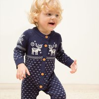 Retail High Newborn Baby Christmas deer Rompers boys girls l...
