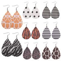 Mulheres Moda Waterdrop PU Leather Dangle Brinco personalizado Design Leopardo da zebra Stripes Double Side Brincos Declaração de Jóias