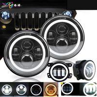 Für auto led scheinwerfer mit halo kit 40 watt 2x7 zoll led frontleuchte mit drl + 2x 4 '' 30 watt led nebelscheinwerfer für jeep wrangler