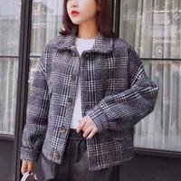 nouveau cardigan tricoté des femmes à carreaux d 'manteau en imitation daim courte épaisseur s des femmes des femmes en hiver 2019