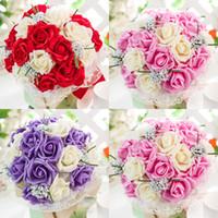 Espuma de novia con flores de Corea del corazón Rose ramo de la boda decoración de la celebración de ramo