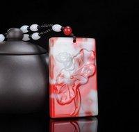 Xinjiang Golden Jade giadeite Bloodstone Jade Lotus colore giada ciondolo Uomini e Donne Bianco Rosso Pendant