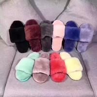 de lujo para hombre mujer niños suaves zapatillas de lana diapositivas con lana de diseño niños de la piel pieles deslizador muchos colores EUR25-44 tamaño para hombres mujeres niños