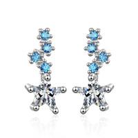 ED614 Ear-Nail Charm Femenino Versión coreana de la moda Small Fresh Blue Star Sweet Gril Earrail Zircon Net Red