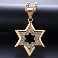 HIP HOP BLING ICED OUT OUT RHINESTONE GOUD RVS Joodse ster van David hexagram hanger ketting voor mannen rapper sieraden
