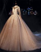 Реальные фотографии роскошные блестящие блестками арабский мусульманское свадебное платье с длинными рукавами старинные высокой шеи саудовский дубай плюс размер свадебное платье cph015