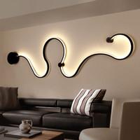 courbe moderne lampe murale LED snakelike S luminaires de forme pour les lumières salon aisel décoration intérieure en aluminium couloir MuraleMC Luminaire