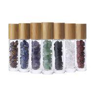 Natural Gemstone essenciais frascos cilíndricos de vidro de óleo multistyle essenciais rolo frascos de óleo de Jade com tampa de bambu
