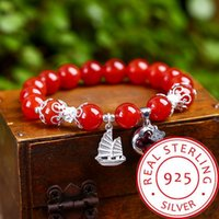 2019 real natural red agate spring rope beaded s925 silver w...