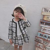 Einzelhandel Baby Mädchen Winter Outfits 2 stücke Plaid Anzug Set Trainingsanzüge (Mantel + Kleid) Kleidung Sets Infant Kids Designer Trainingsanzüge Boutique Kleidung