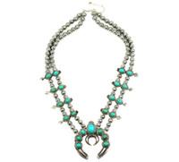 venta de collar de flores de calabaza, piedra plata de la vendimia de flor de calabaza collar N21789 V191128