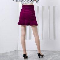 Toptan-TWOTWINSTYLE Kadife Kadın Etek Ruffles Patchwork Yüksek Bel Düğmeler BODYCON Kadın Mini Etekler 2018 Vintage Büyük boyutu Giyim