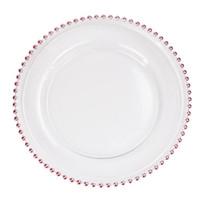 32 centímetros rodada Bead banhados Pratos placas de vidro transparente Ocidental Food Padding casamento Mesa Placa Decoração de Cozinha Ferramentas 3colors GGA3205