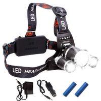 2020 recarregável Farol 13000Lm XM-T6 3LED farol cabeça luz Pesca Lâmpada Hunting Lanterna 2x 18650 Car / AC / USB Charger