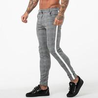 Erkek Moda Ekose Pantolon Erkekler Streetwear Hip Hop Pantolon Skinny Chinos Pantolon Dar Kesim Günlük Pantolon Koşucular Kamuflaj Ordu Spor Salonları Cilt