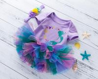 ins venta caliente Trajes de la niña de tul vestido de tutú 0-24 M recién nacido dibujos animados diseño de la sirena del mameluco de la falda de algodón Romper + falda + diadema = 3pcs / set