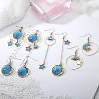 New- style Blue Sky And Moon Planet Earrings Small And Fresh ...