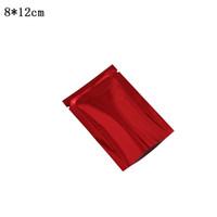 8 * 12cm 200ピース/ロットレッドアルミホイルバッグオープントップマイラーホイル真空食品貯蔵ヒートシール可能バルク食品貯蔵フラットスナック包装袋