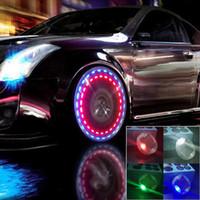 LED سيارة الإطارات عجلة غطاء أضواء الشمسية مع استشعار الحركة الملونة الدائنة الإطارات الغاز فوهة قبعات دراجة نارية