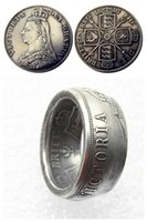 Handmake Anello monete Per UF01 GRAN BRETAGNA, Victoria 1887 argento doppio Florin capo placcato Copia moneta nella Taglie 8-16