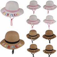 10styles Kids Bucket hat letter تطريز Straied What Sunhat summer beach Sun Hat Word Fishing Caps Baby Fishman Kids Basin beats FFA1922-1