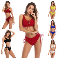 Triangle Lace Up Swimsuit Push Up Bra Bathing Suit Hollow se...