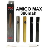 Amigo Max Vape Pen Battery 380MAH Аккумуляторные картриджи Расположенные нагревательные батареи Регулируемое напряжение с зарядным устройством USB 510 резьба E-сигарета Упаковочная коробка