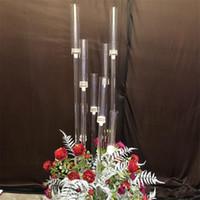 Vaso de flores 10 cabeças Castiçais cenários Acrílico candelabros altos castiçais da tabela do casamento flor Peça central stand Candelabru