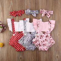 Yenidoğan Bebek Kız Giysileri Puantiyeli Baskı Çiçek Sleeve Romper Tulum Bandı 3 adet Kıyafetler Sunsuit Yaz Bebek Kız Set