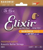 1 مجموعة!! Elixir 16052 Nanoweb Acoustic Guitar سلاسل Light 12-53 Phosphor Bronze