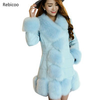 Brand Faux Fur Coat Women PU Leather Coat With Fur Trim Long...